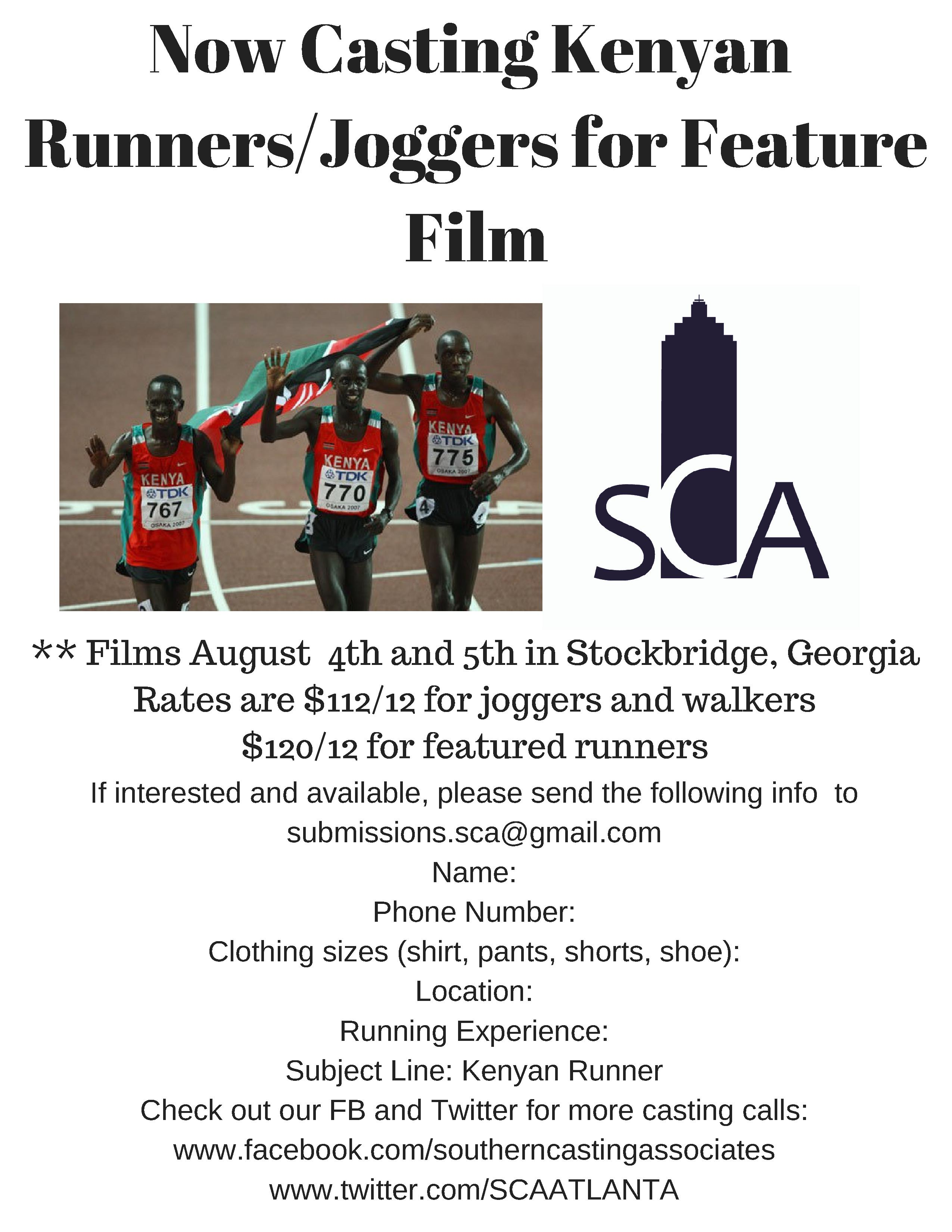 Now Casting Runners Joggers for Feature Film